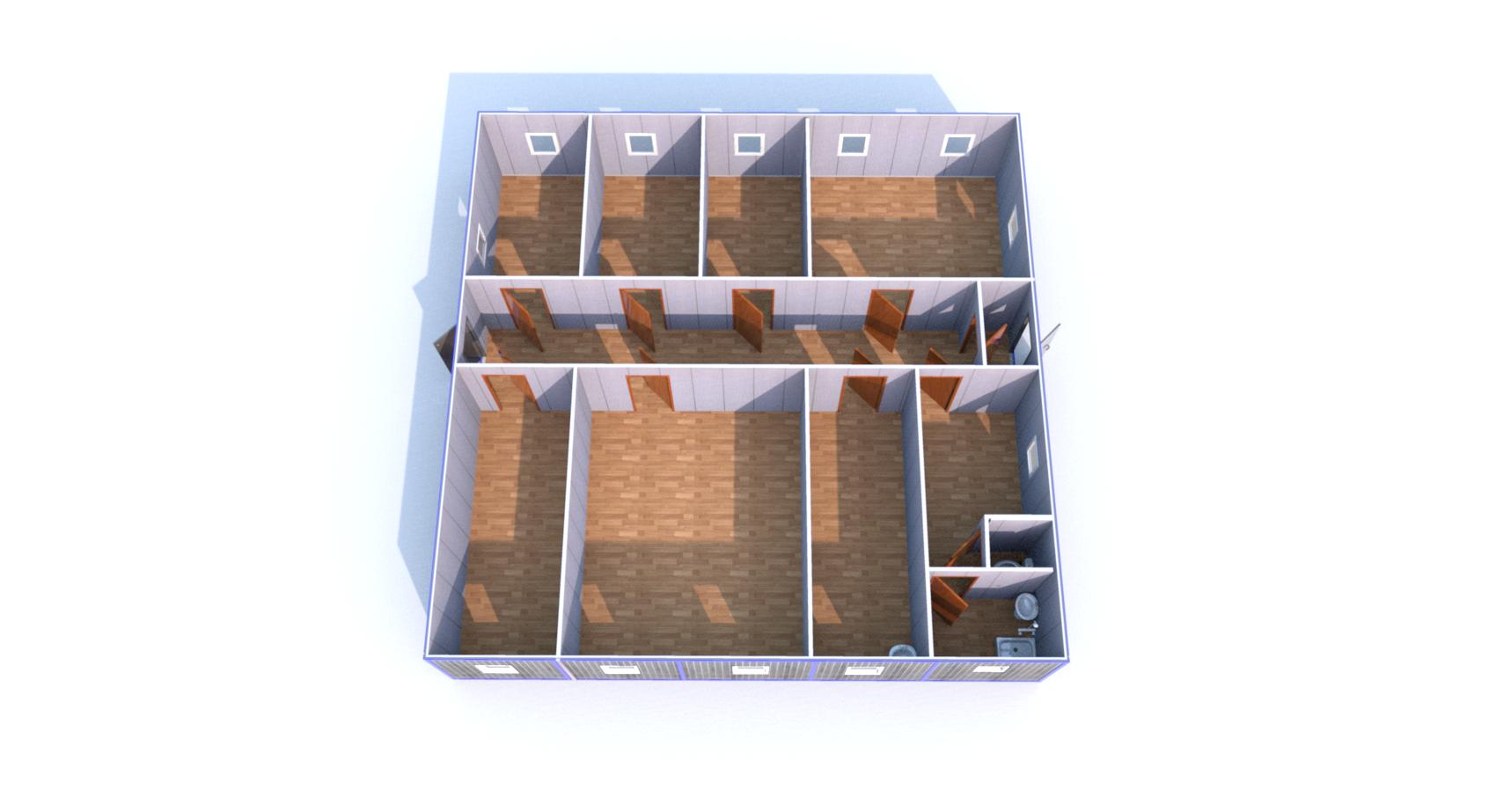 Блок-Модуль (Д.,Ш.,В.) 12,0*12,0*5,0м., состоящий из 5 блок-контейнеров 12,0*2,4*2,5м